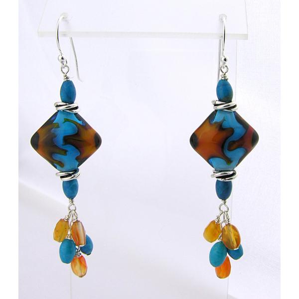 Handmade turquoise orange lampwork earrings carnelian turquoise sterling
