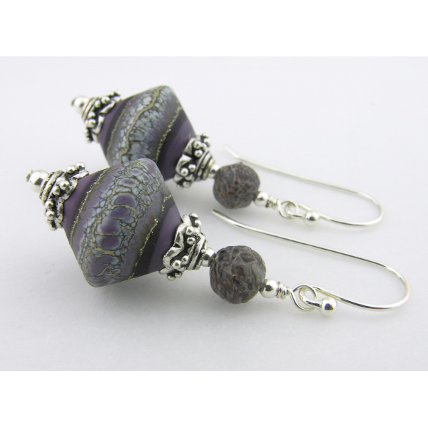 Artisan purple white grey earrings with lampwork glass, dinosaur bone, sterling