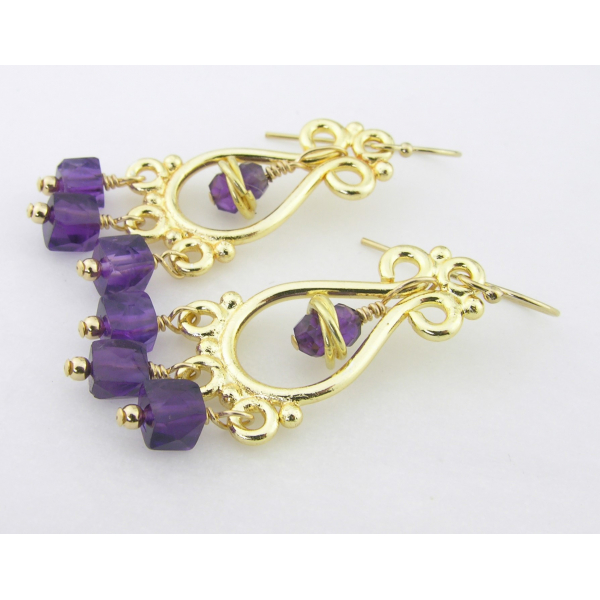 Purple Gold Earrings gold filled amethyst gemstone cubes vermeil chandelier