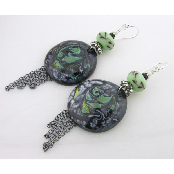Handmade earrings mint green lampwork black onyx enamel sterling