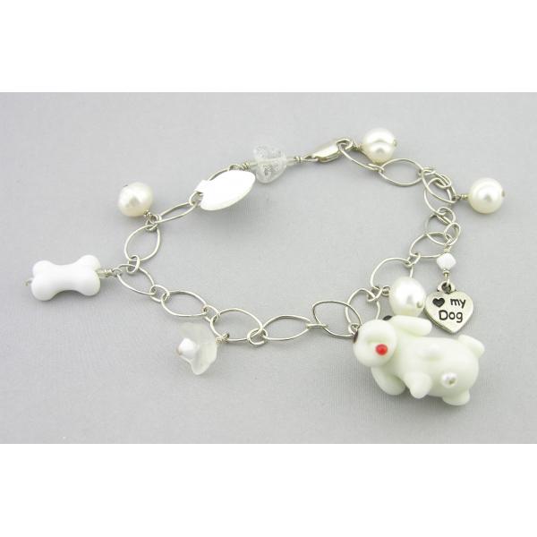 Handmade dog charm bracelet in white sterling silver crystal pearls flower heart