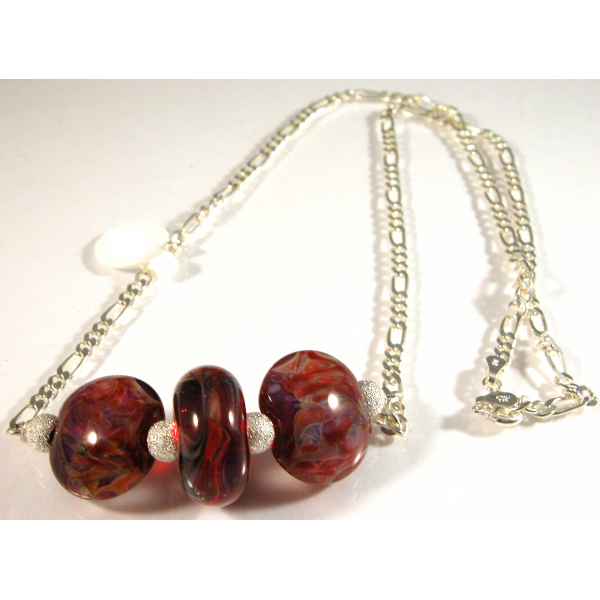 Artisan made sterling silver necklace red blue boro lampwork