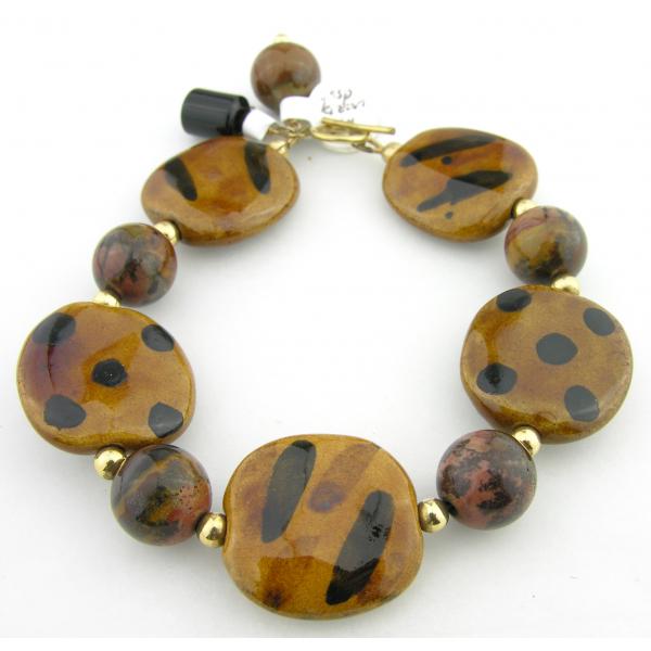 Handmade bracelet brown black picture jasper gemstone kazuri ceramic gold fill