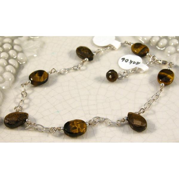 Artisan made sterling silver anklet brown tiger eye bronzite gemstones