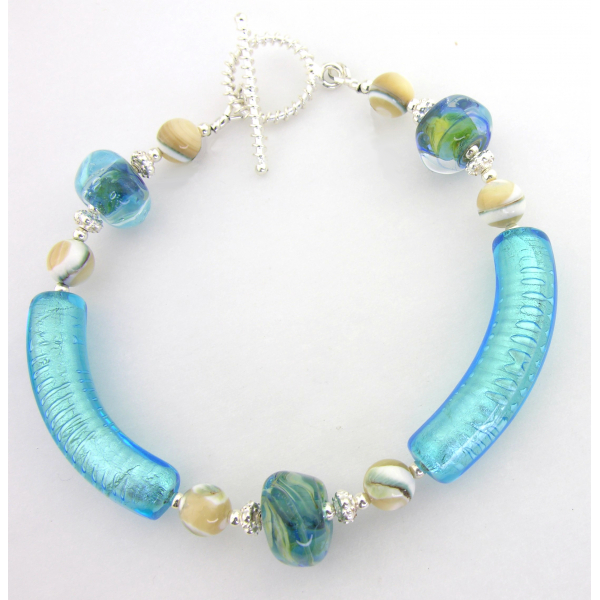 Handmade bracelet aqua sand beige shell gemstones lampwork sterling silver