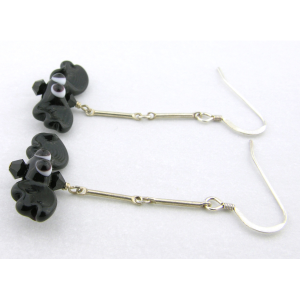 Handmade artisan halloween earrings with black bats and sterling silver