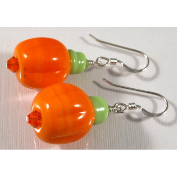 Handmade artisan halloween autumn earrings with orange pumpkins sterling silver