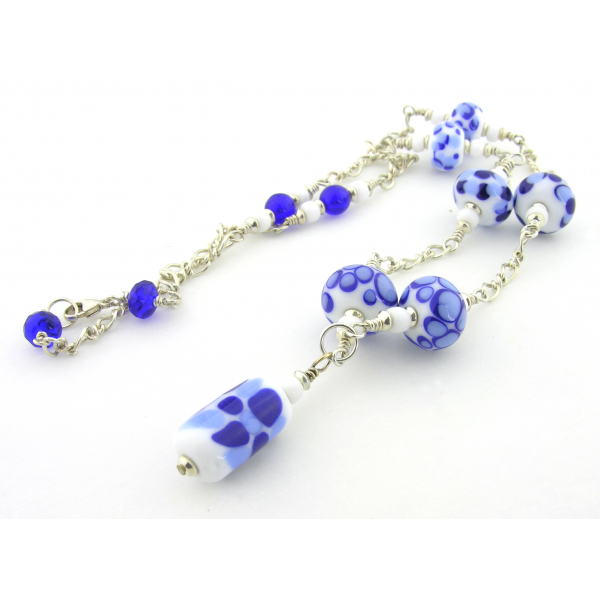 Artisan made blue and white necklace with lampwork and sterling silver