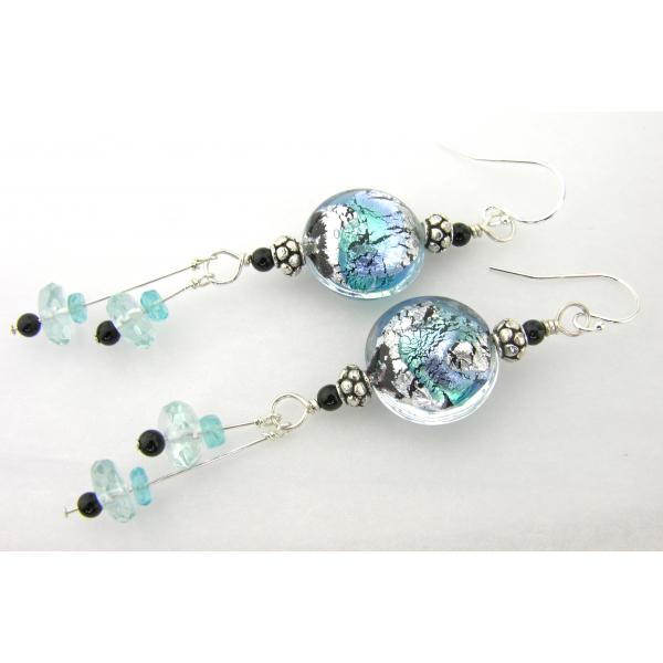 Handmade earrings with aqua blue black Venetian glass, onyx, apatite sterling