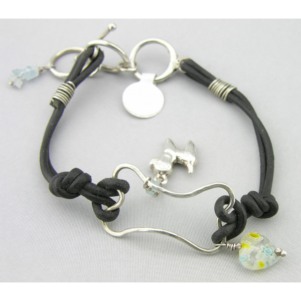 Handmade wire bone bracelet with sterling silver dog charm leather aquamarine
