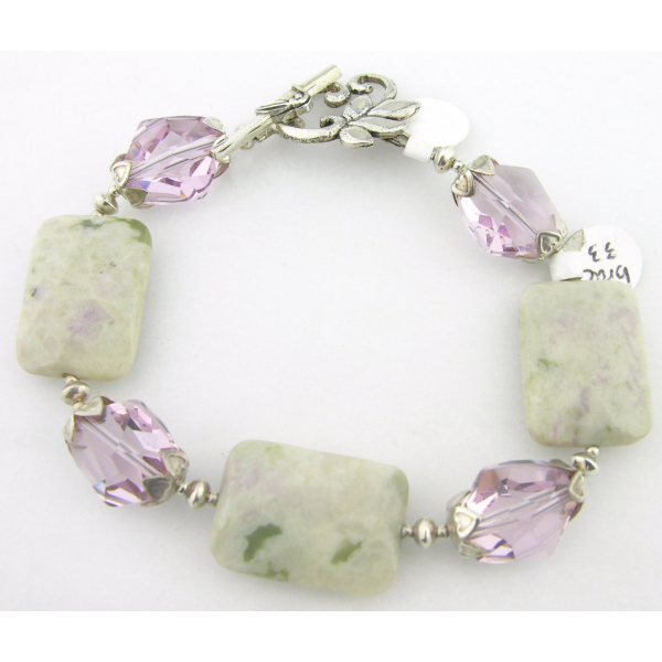Handmade bracelet light green jasper lavendar crystal gemstones sterling silver