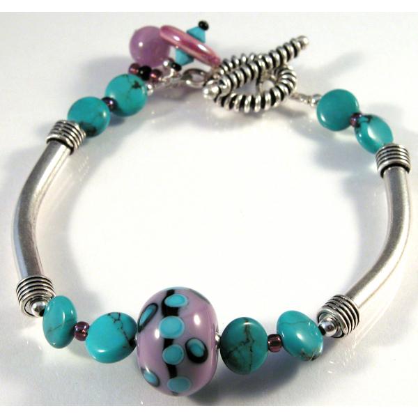 Handmade bracelet purple turquoise black artisan lampwork sterling silver
