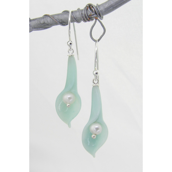 Handmade aquablue earrings with blue quartz carved lily, pearls, sterling