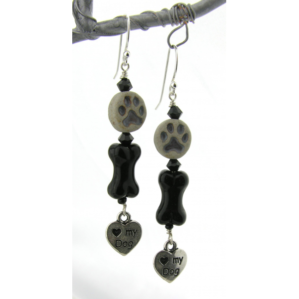 Handmade earrings with black glass bone, gray paw print, dog love charm sterling