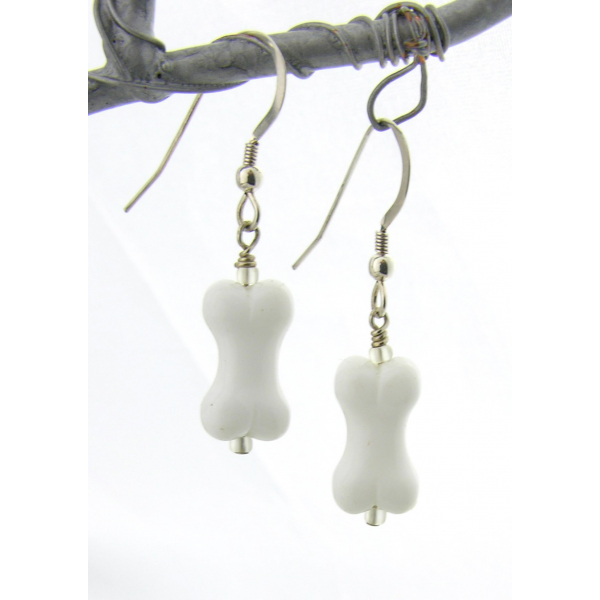 Artisan made white glass bone earrings with sterling silver