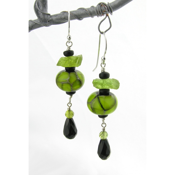 Artisan made lime green black earrings with handmade glass peridot onyx sterling