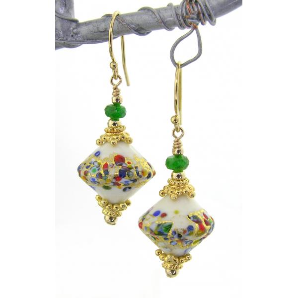 Handmade earrings with ivory klimt style venetian beads tsavorite gold fill