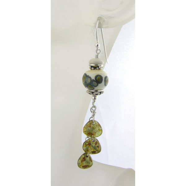 Handmade earrings green white etched lampwork ivoryite Czech petals sterling