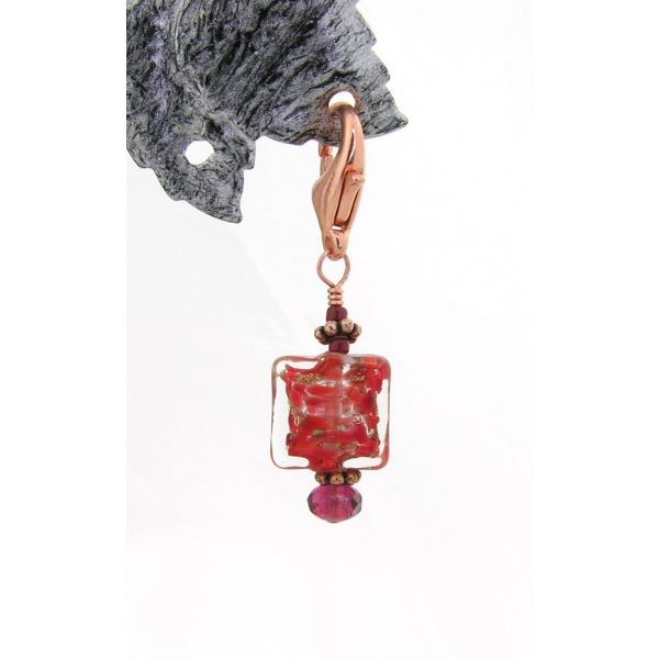 Artisan made red and copper stitch marker with Venetian bead