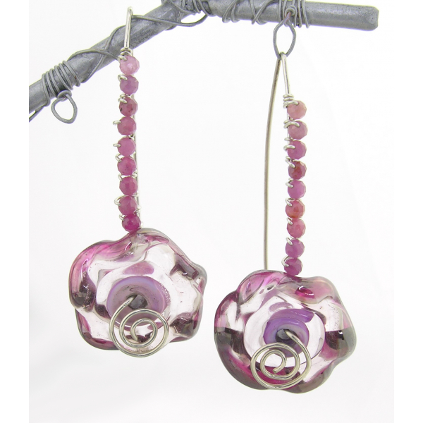 Artisan made hand forged earrings with pink ruffle lampwork ruby gemstones