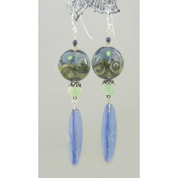 Handmade greblue earrings with lampwork glass, kyanite zircon sapphire sterling