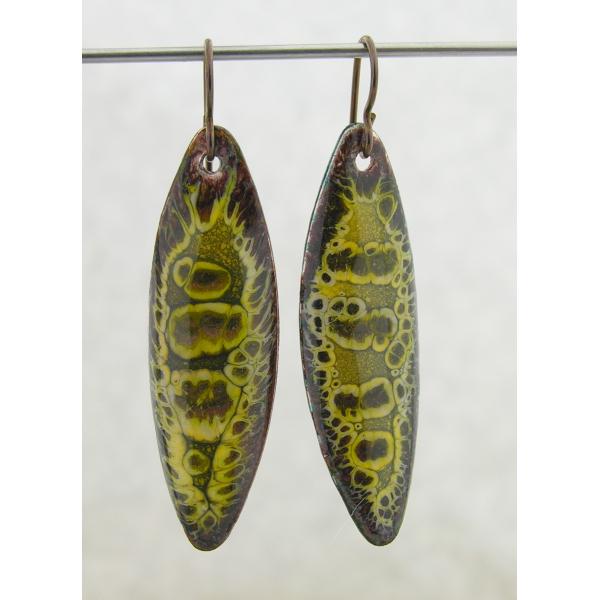Artisan made organic crackle enamel on copper yellow brown earrings