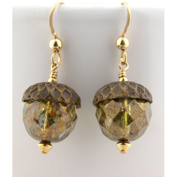 Handmade earrings with golden Czech glass acorn gold fill fall autumn
