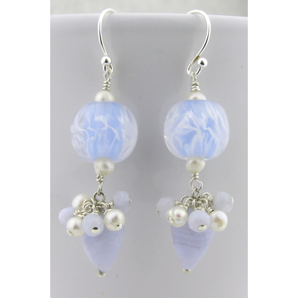 Handmade blue earrings with light blue lace agate lampwork, pearls, sterling