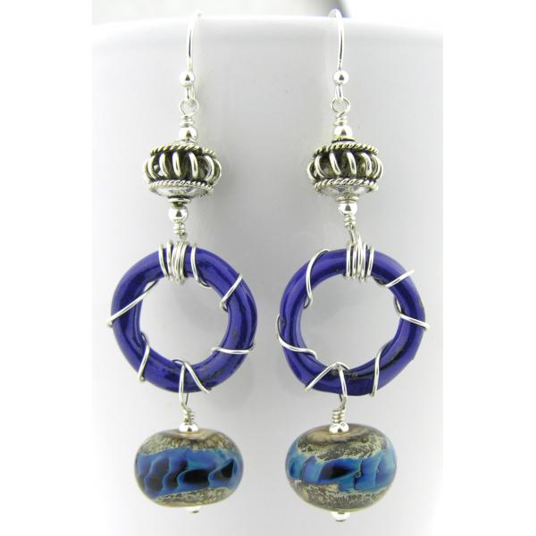 Handmade blue enamel ring earrings with blue silver lampwork glass, sterling