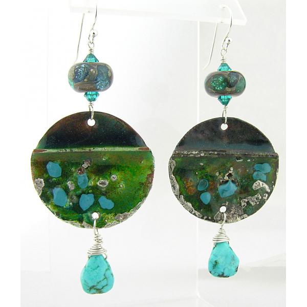 Handmade earrings teal green lampwork turquoise crystals sterling