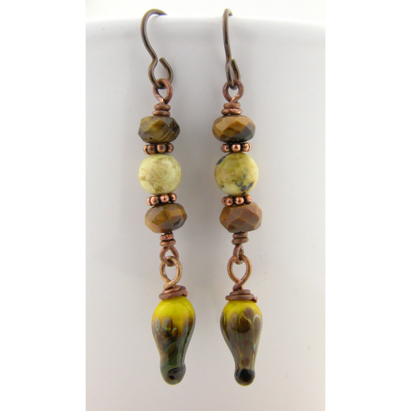 Handmade brown yellow earrings, lampwork tiger eye jasper copper