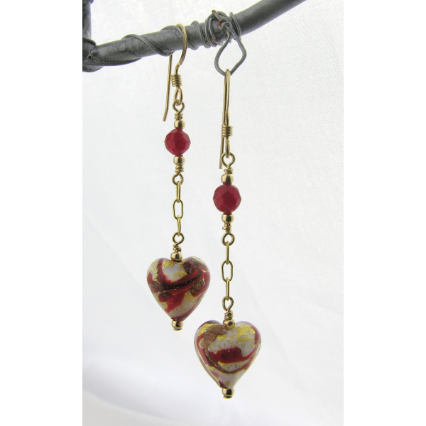 Handmade earrings with red white gold venetian hearts red quartz gold fill