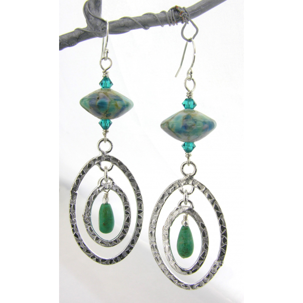 Handmade earrings with blue teal green lampwork glass, turquoise sterling