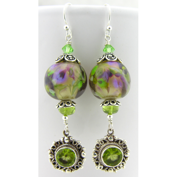 Artisan made purple green earrings with handmade lampwork glass peridot sterling