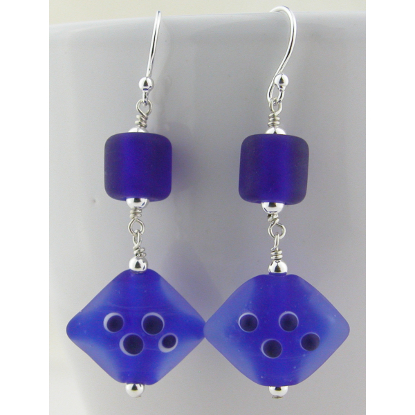 Handmade earrings with dark blue lampwork glass, sterling silver