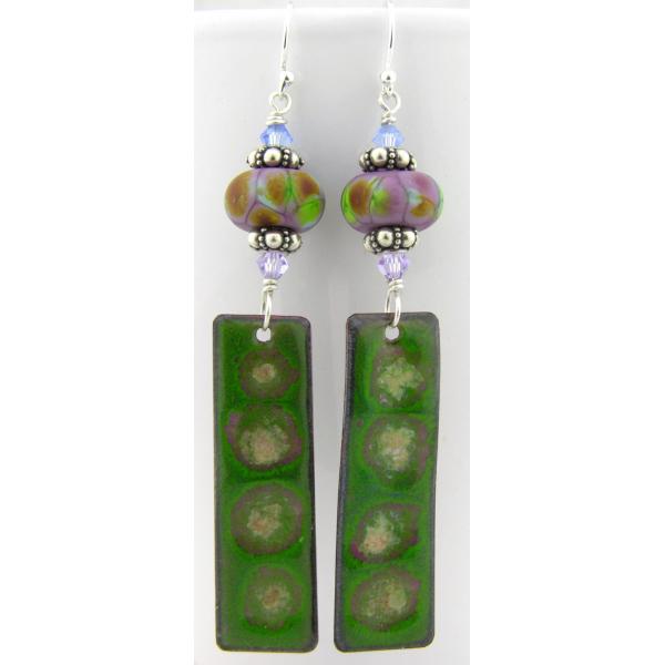 Artisan made green purple enamel on copper earrings lampwork sterling