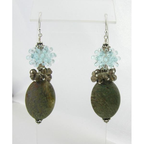 Handmade earrings with aqua spiky urchin lampwork glass, smoky quartz, sterling