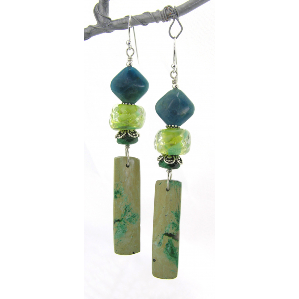 Handmade lime green teal earrings with chrysocolla, apatite, lampwork, sterling
