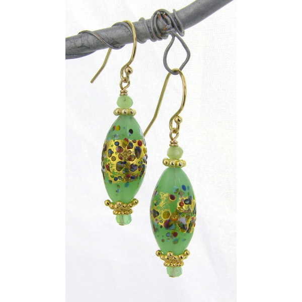 Handmade earrings with light green klimt style venetian beads gold fill vermeil