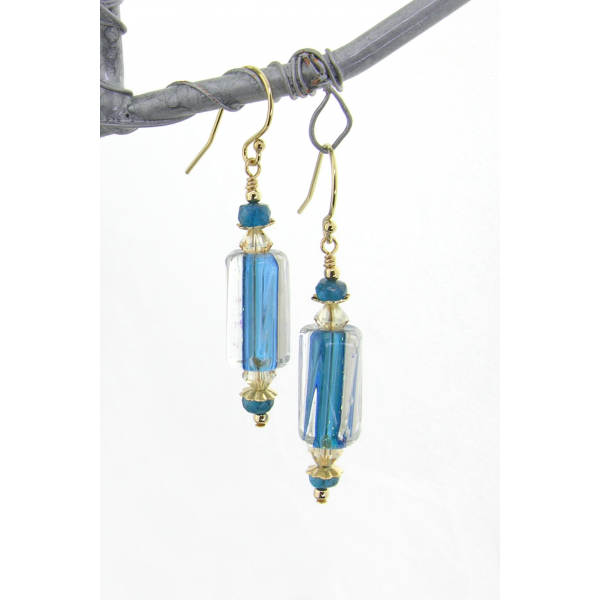 Handmade teal and gold earrings with artisan furnace glass, apatite, gold filled