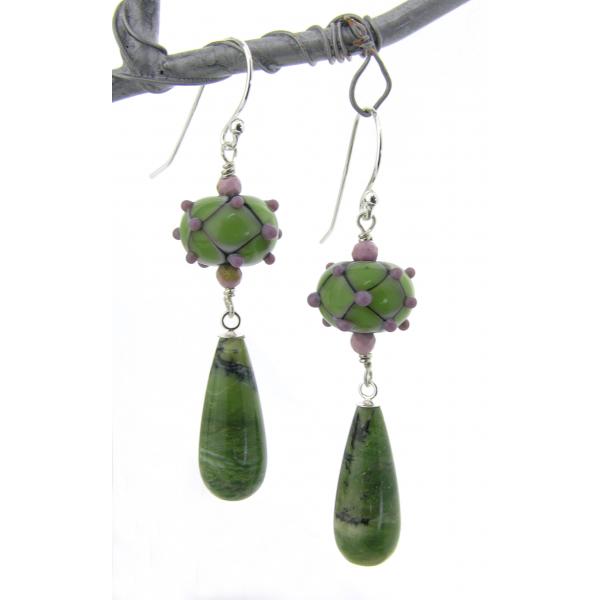 Handmade earrings with sage green lavendar lampwork glass green opal sterling