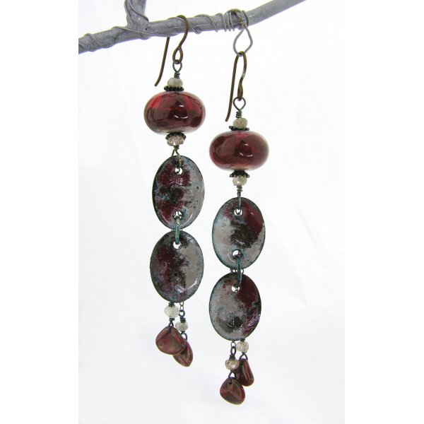 Artisan red black enamel on copper earrings lampwork zircon gemstone niobium