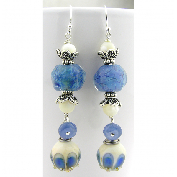 Handmade blue earrings with blue peacock lampwork glass, kyanite, sterling