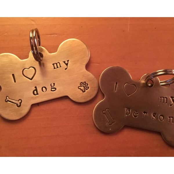 Artisan made brass, hand stamped, dog bone shape tag