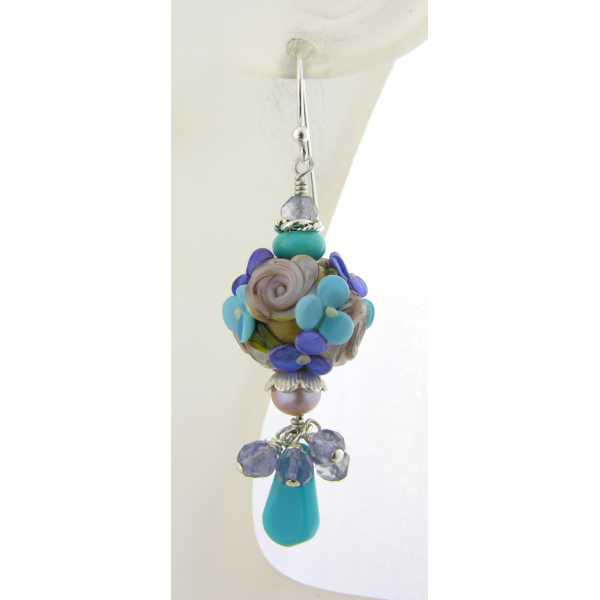 Handmade blue floral earrings with turquoise, lampwork, iolite, pearl, sterling
