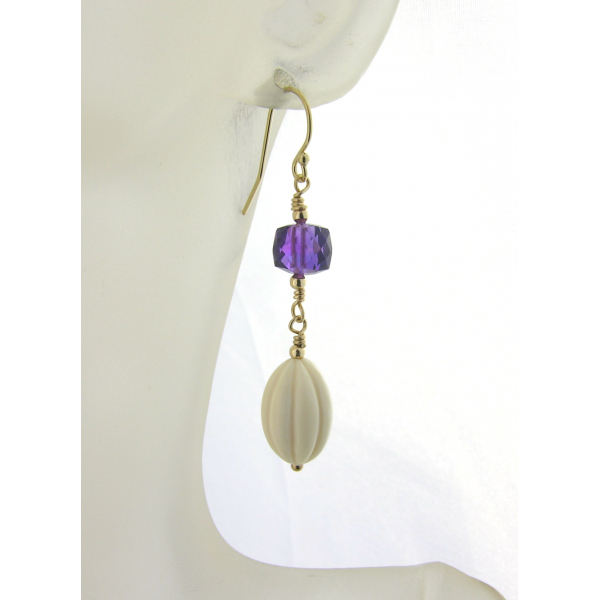 Handmade earrings with wooly mammoth ivory, purple amethyst gold fill ear wires