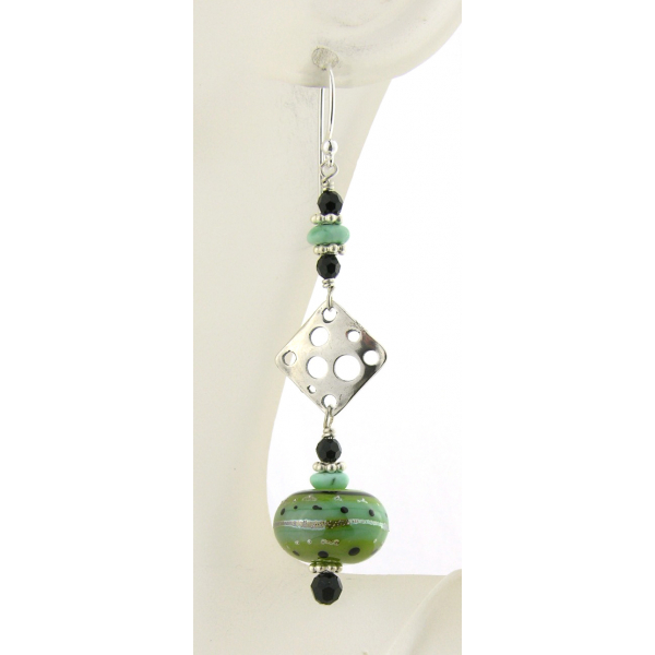 Artisan made lime black earrings with handmade lampwork glass turquoise sterling