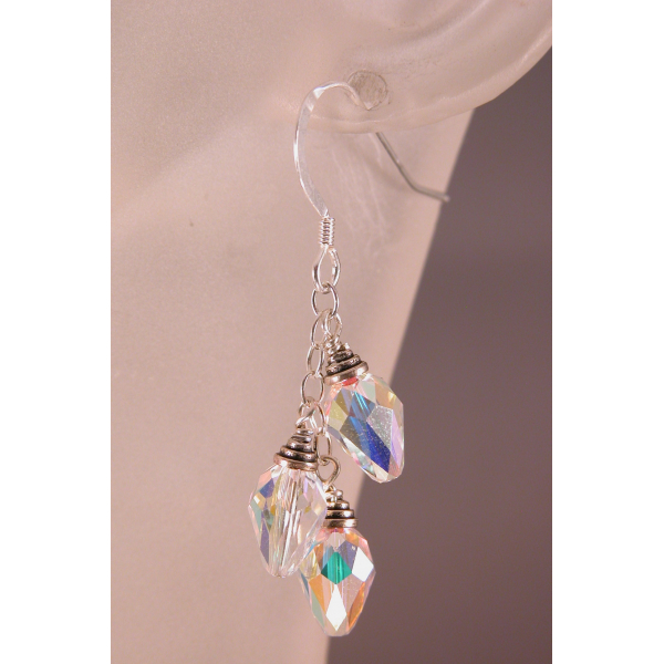Crystal Holiday Lights Earrings - clear red green sparkle drop sterling artisan