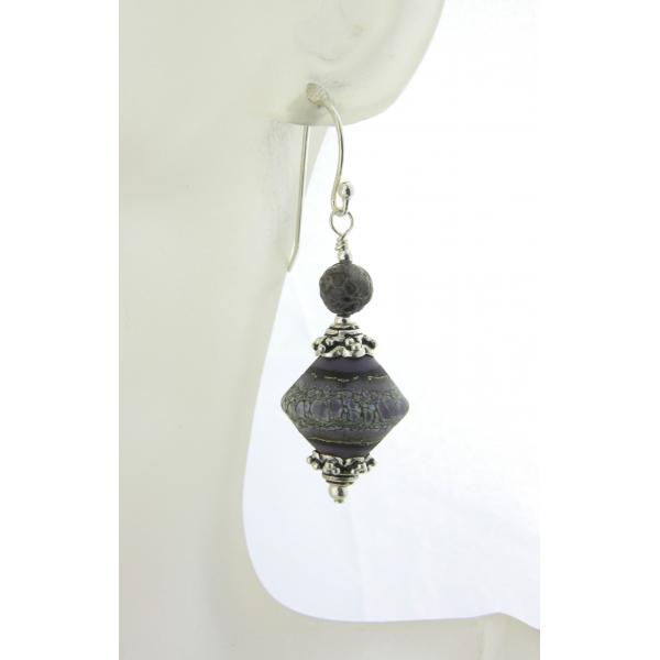 Artisan purple white grey earrings with lampwork glass, dinosaur bone, sterling