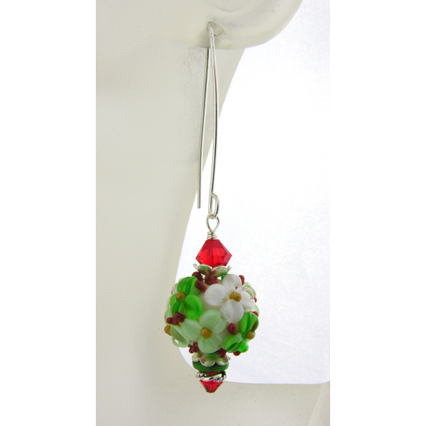 Handmade red green Christmas floral earrings with lampwork, crystals, sterling